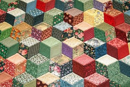 Twin Tumbling Blocks Multicolor Amish Quilt For Sale | Amish Quilt Shop