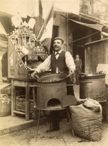"""1870s     Chestnut Vendor, Italy Reminds me of Hemingway's """"In Another Country"""""""