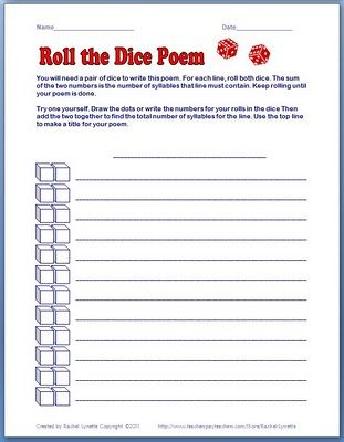 """For each line of the poem, the total number of syllables is determined by the sum of the two dice. Students will love the randomness of the is activity and the poems are fun to read too. You might want to give a broad topic such as """"Autumn"""" or """"My Family"""" so that the poems don't wander too much."""