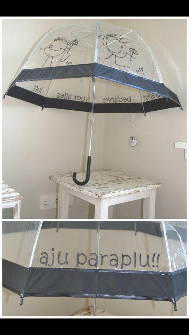 Aju paraplu. Doorzichtige paraplu met watervaste stift.
