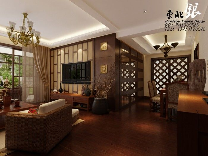 Living cum dining asian style living room designs for Oriental furniture living room