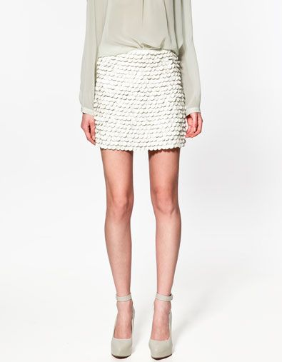 Skirt with Leather Paillettes by zara. i adore the texture.