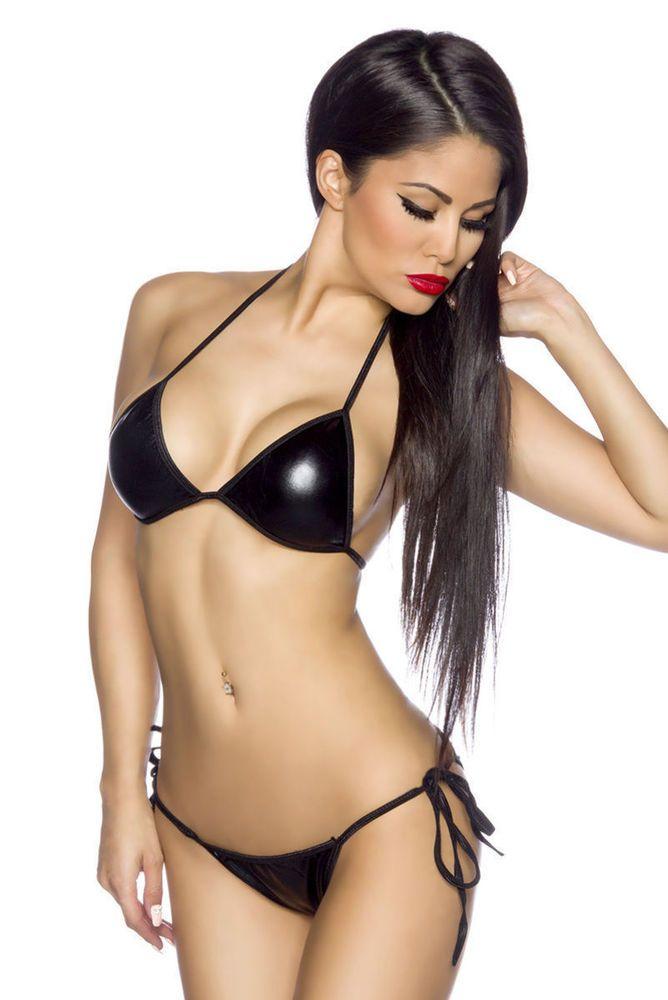 Sexy Damen Bikini Badeanzug XS-M Bademode Metallic-Look Schwarz Silber Gold NEU