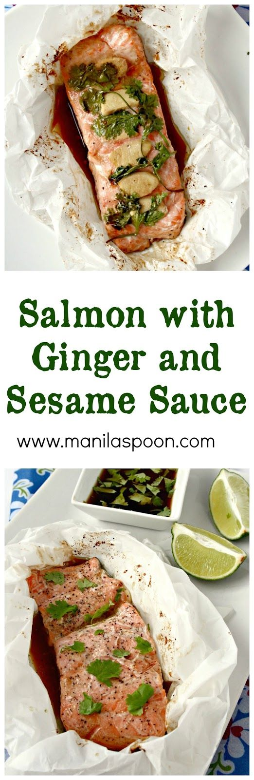 This is the tastiest and juiciest Salmon dish ever! Baked en papillote (in parchment) flavored with ginger and sesame sauce - this baked salmon is the ultimate fish dish for my family!