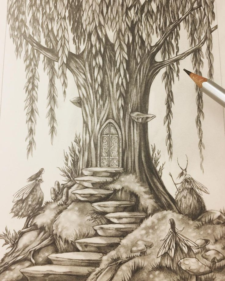 "Eeva Nikunen (@eevanikunen) on Instagram: ""Would you dare to open the door and enter the Faery Forest? ✨🍃 #sketchtember #sketchtember2017…"""