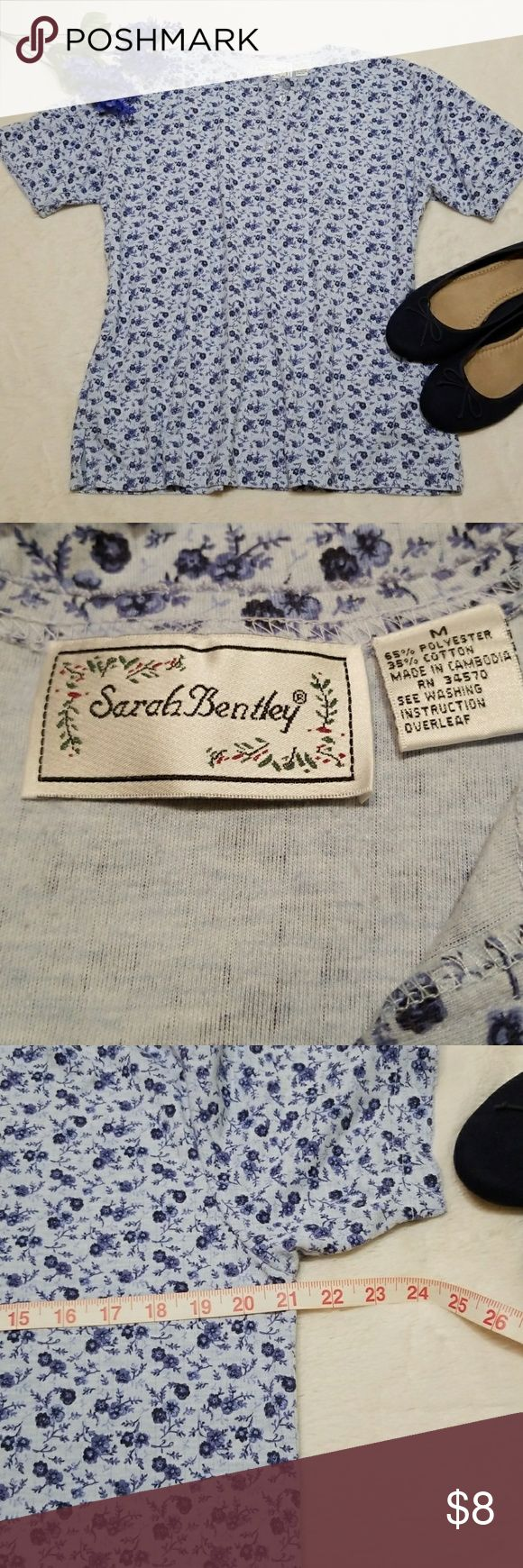Sarah Bentley top / tee size medium Cute and classic top  By Sarah Bentley.    Size medium.  Excellent pre love condition. Measurements in pictures. Feel free to ask questions. (Accessories not included) blue flats for sale in another listing. Sarah Bentley Tops