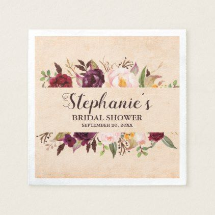 Burgundy Red Floral Rustic Boho Bridal Shower Napkin | Zazzle.com