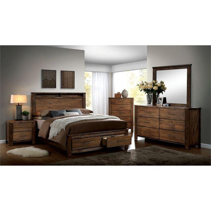 Lowest price online on all Furniture of America Nangetti 4 Piece King Bedroom Set in Oak - IDF-7072EK-4PC
