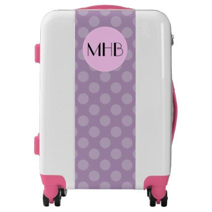 #Monogram - Polka Dots Dotted Pattern - Purple Luggage - #luggage #suitcase #suitcases #bags #trunk #trunks