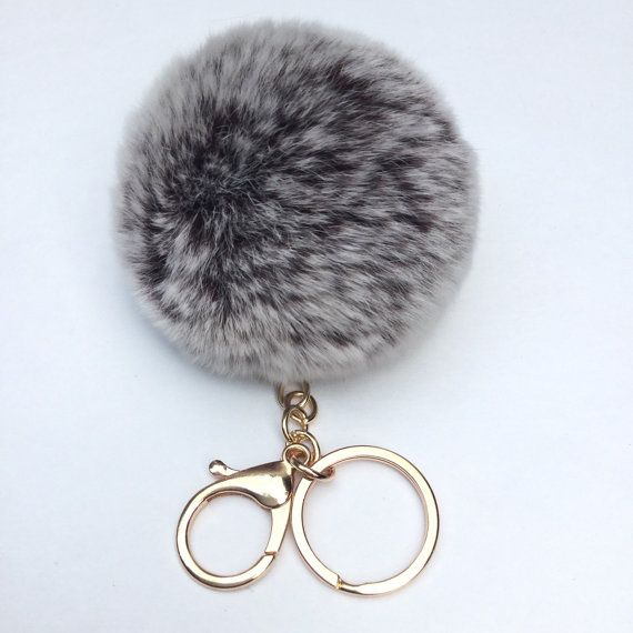 New Chocolate Frosted Fur pom pom keychain fur by YogaStudio55