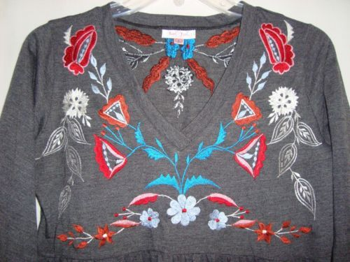 LUV-2-LUV-Embroidered-Baby-Doll-Hippie-3-4-Sleeve-Womens-Knit-Top-Size-L