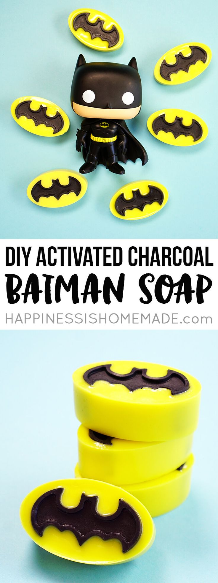 Make your own Batman activated charcoal soap that's perfect for fighting acne and problem skin (and crime!)! Activated charcoal is great for your skin! via @hiHomemadeBlog