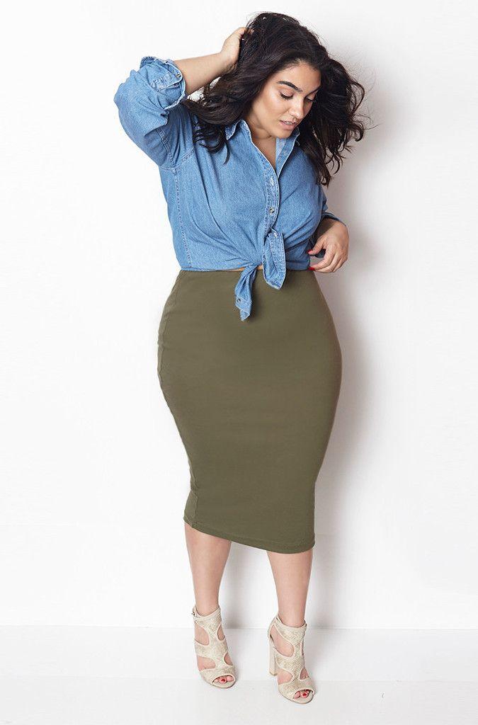 e0bdd92f0cbff4 How to wear a plus size denim shirt in style   denim   Fashion, Fashion  outfits, Curvy girl outfits