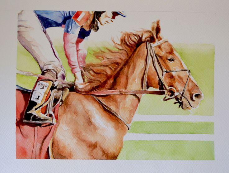 Jockey IV - Watercolour 30 x 40 cm