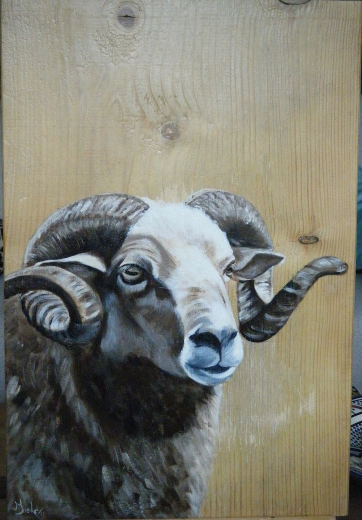 Ram. Geschilderd met acryl op houten paneel door Ineke Nolles.