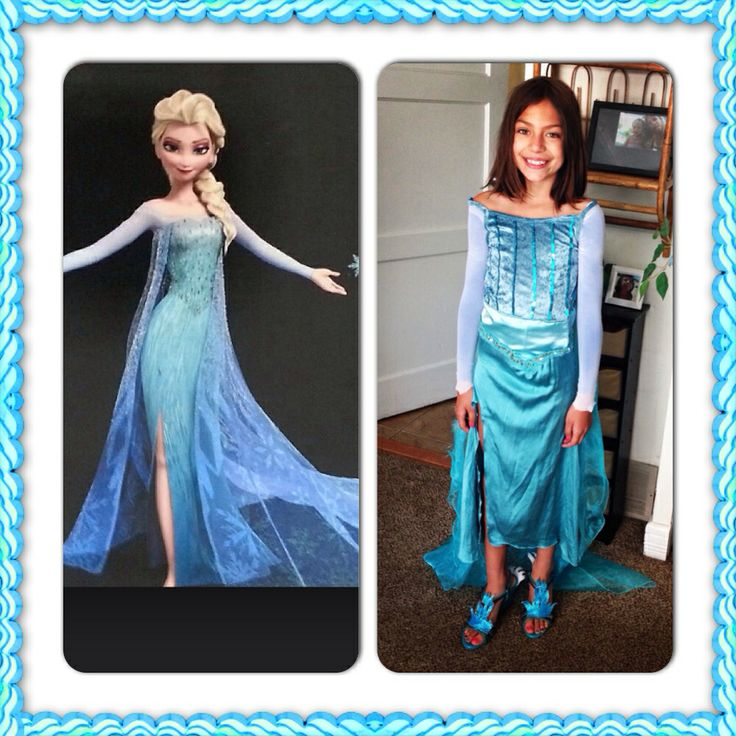 Diy Elsa dress: I merged 2 dress up outfits and used tights for sleeves. Added icicles to shoes with leather. Painted them with puff paint and fabric glitter. Decorated cape with stencil snowflake and glitter puff paint