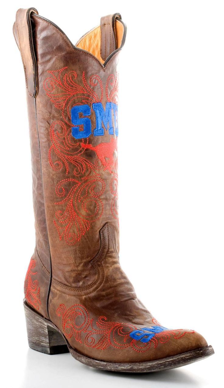 Gameday Southern Methodst Ladies Leather Boots SMU-L006-1 - Brass