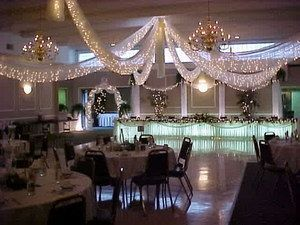 Elegant Cultural Hall Wedding Reception decorations - how did they get those chandeliers to work?