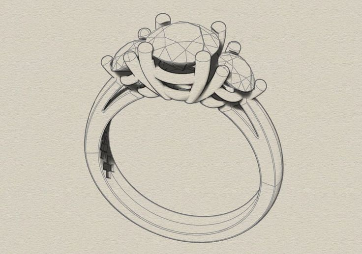 the first drawing! 3 Stone ring design. Diamonds Amsterdam.