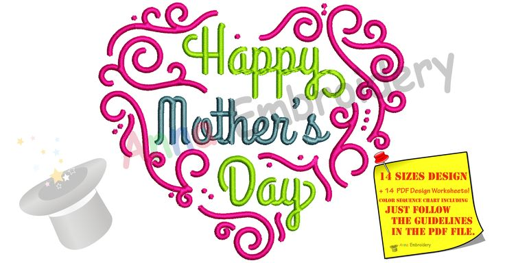 Just in! Happy Mother's Da... .Flying out the door! http://www.annaembroiderydesigns.com/products/happy-mothers-day-embroidery-design-mom-embroidery-heart-embroidery-machine-embroidery-patterns-instant-download-pes?utm_campaign=social_autopilot&utm_source=pin&utm_medium=pin