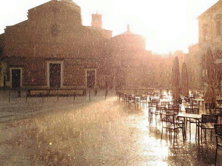 Rain falls on piazza Duomo, 25th may 2015. Padova, Italy