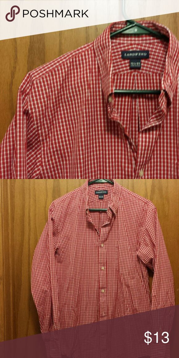 Lands ' End red check shirt Mens long sleeve 100 % cotton button down collar in excellant shape. 15 1/2  33 Lands' End Shirts Casual Button Down Shirts