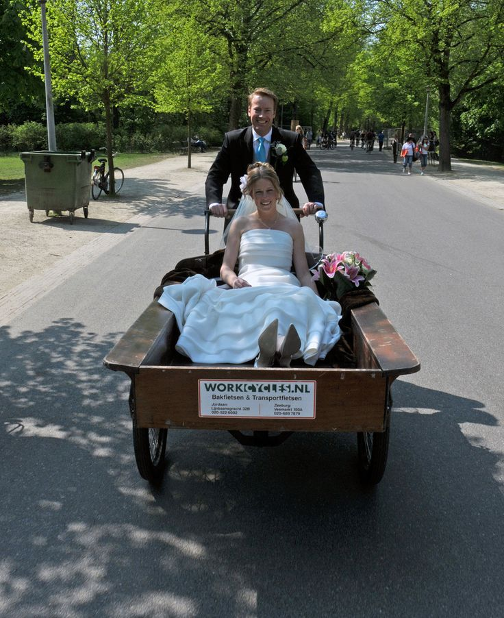 Only in Holland would you arrive at your wedding by a bike cargo - ha!