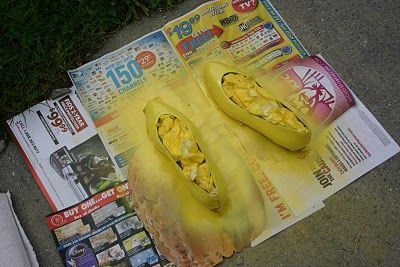 Materials: Old Shoes  Spray Primer (for glossy shoes only)  Spray Paint: Matte or Gloss, doesn't matter  Clear Coat Spray Paint  Paper Towels  Packing Tape  Razor Blade