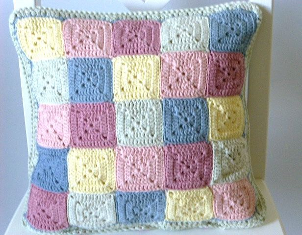 Pastel crochet cushion cover reversible cushion cover