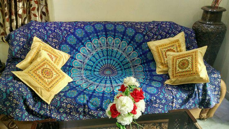 Sofa Couch Cover Bohemian Mandala Tapestry Cheap Wall Hanging #Handmade #ArtDecoStyle #BeddingTapestry