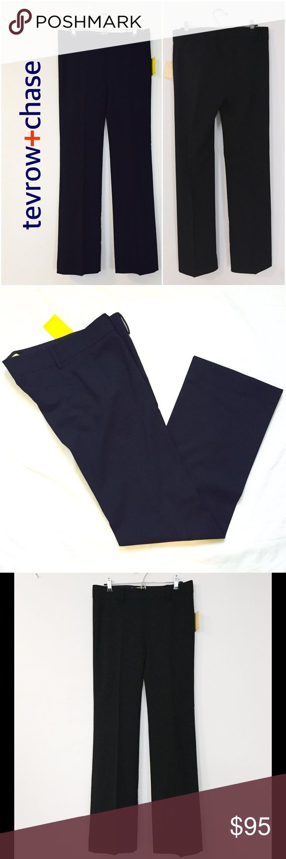 tevrow+chase TropWool Reese Pants tevrow+chase TropWool Reese trousers in black. Full, straight leg. Size 6. 98% Wool, 2% elastane. Made in Canada. Dry clean only. Wear it with a cashmere sweater and booties for a go-to Fall/Winter work outfit. tevrow+chase Pants Trousers