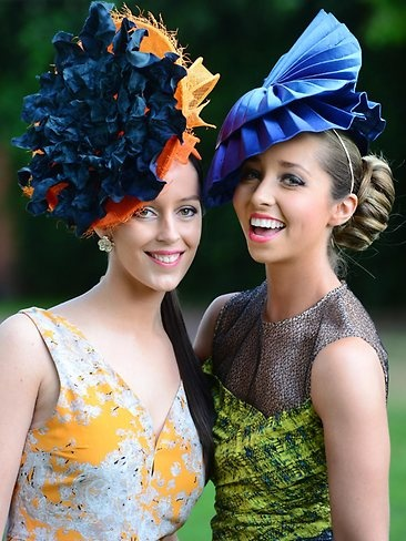 Stephanie Pete and Lauren Andrews at this year's Caulfield Cup. LOVE these bright head pieces!