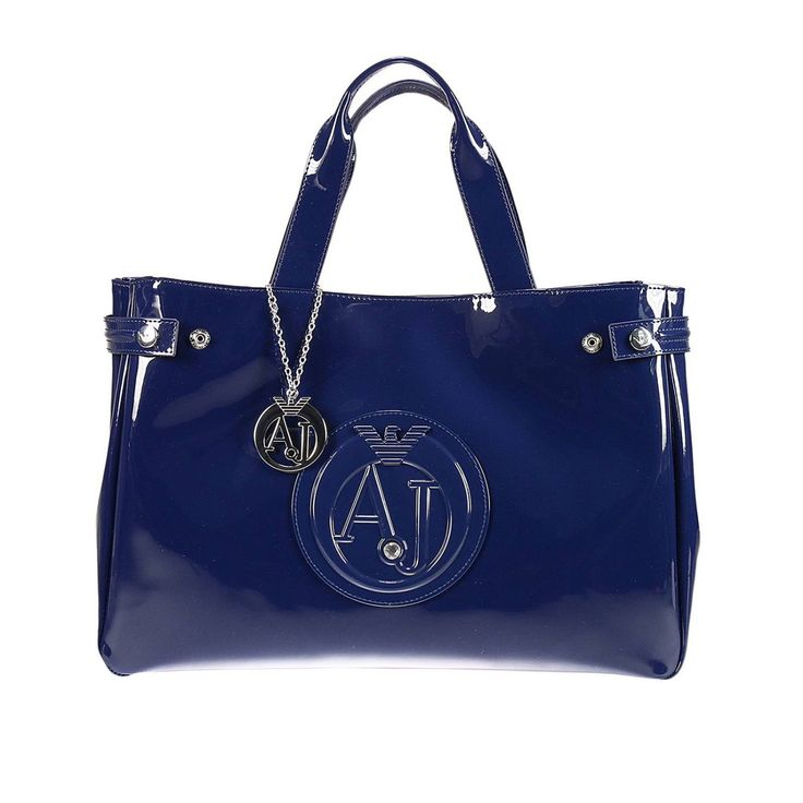 Armani Jeans Handbag Patent Leather Classic Shopping Bag With Rhinest