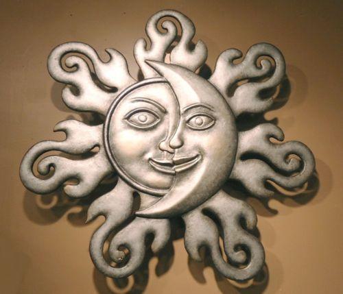 "Sun Moon Half Face Celestial Wall Art Garden Hanging Plaque Sunburst Decor 32"" | eBay"