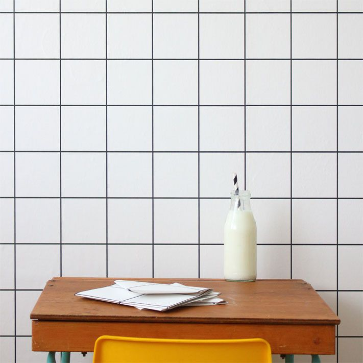 Grid wallpaper that can add some retro to any room.