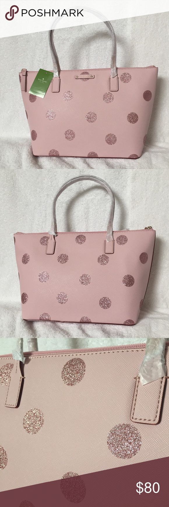 """NWTs! Kate Spade Pink Glitter Dot Purse NWTs! Kate Spade Pink Glitter Dot Purse. Style is Haven Lane Hani. This is the medium sized bag: 15x9x5 with a 6"""" drop on handles. Saffiano textured exterior with pink lining. Has a zipper interior pocket as well as 2 open pockets. Outer zipper is pink wot gold hardware. Originally $120. 1216/38/21417 kate spade Bags Shoulder Bags"""