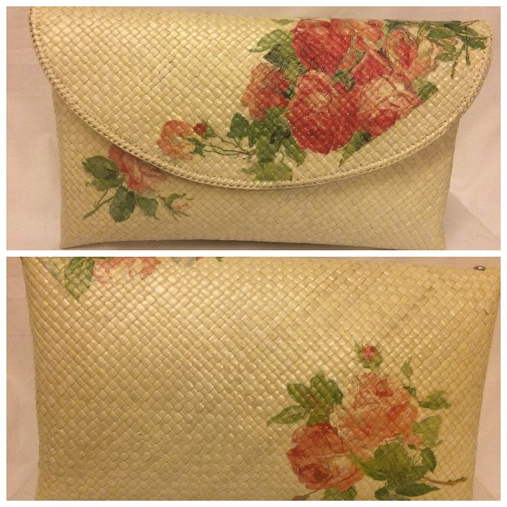 Natural color clutch with roses
