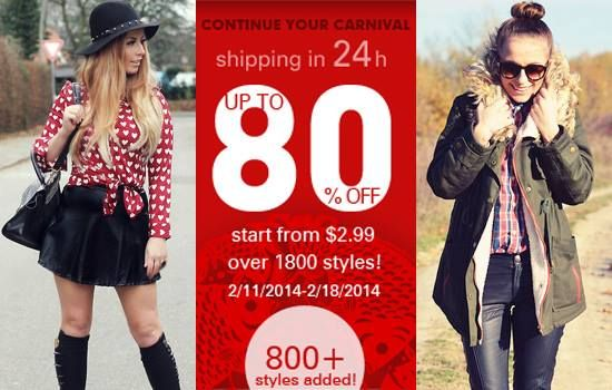 Continuing the carnival sale Over 1800 styles, up to 80% off Start from $2.99 Time: 2/11/2014 ---2/17/2014 Don't miss, girls! Go: http://www.romwe.com/SPRING-FESTIVAL-SALE-c-436.html?Pardonnemoicecaprice