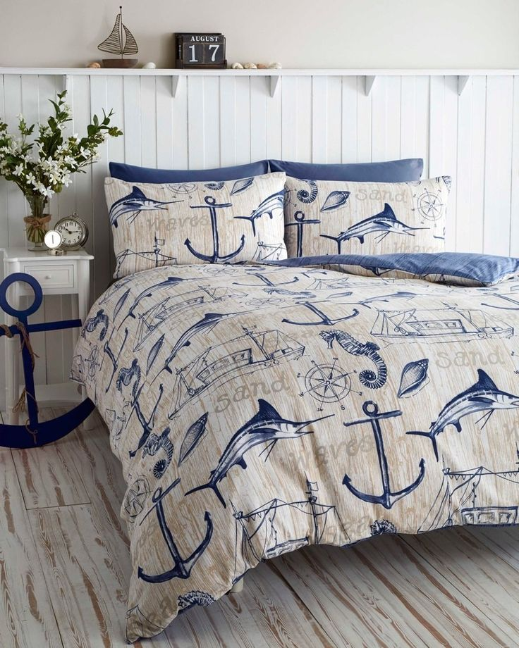 wharf boat ship waves nautical anchor super king duvet quilt cover bedding set