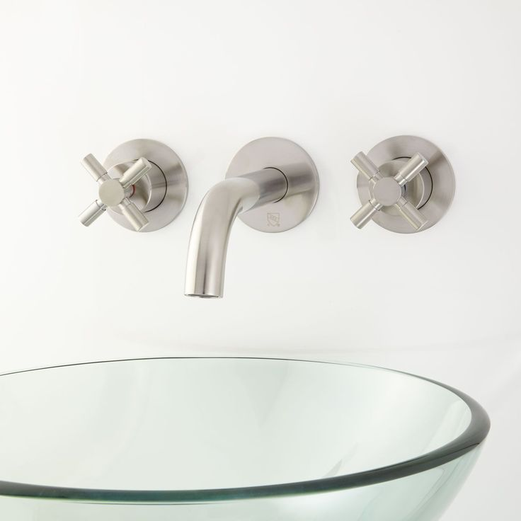 rotunda wallmount bathroom faucet with drain no overflow cross handles brushed