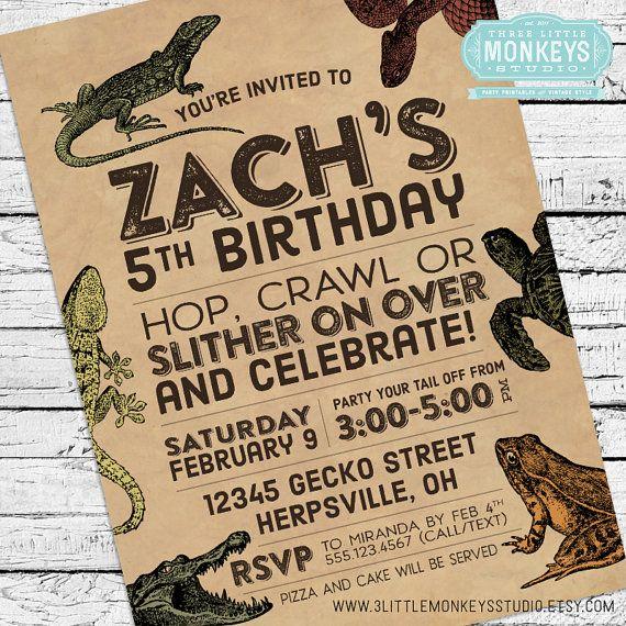 Reptiles & Amphibians Invitation by 3LittleMonkeysStudio on Etsy