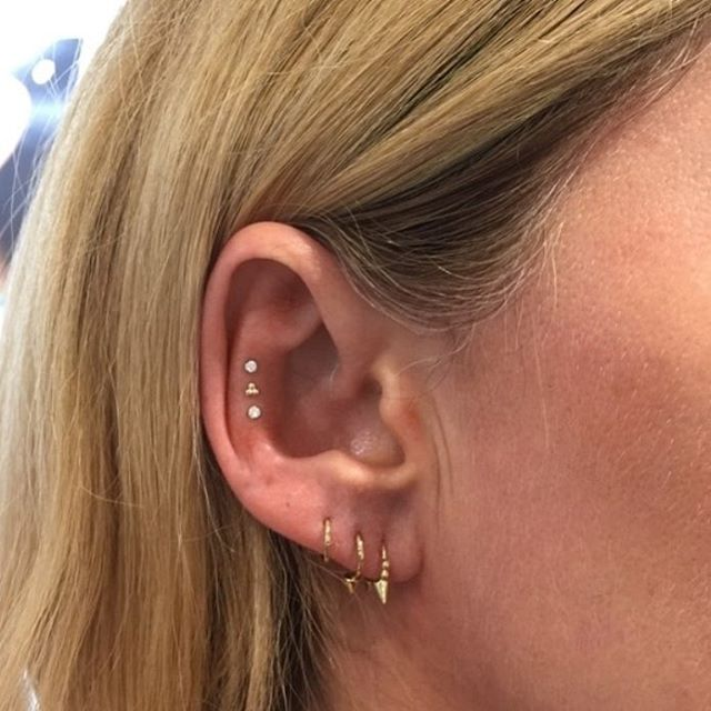 Delicate ascending diamonds from the team at @maria_tash. Book your appointment for the ultimate piercing beauty. Share your sparkling additions with #mariatashxliberty! #libertylondon #MariaTash