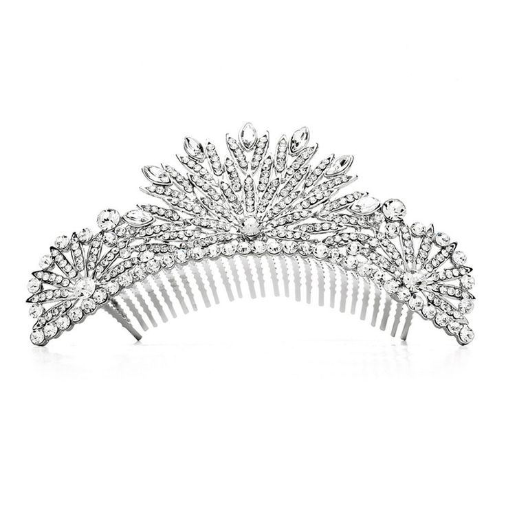 49.95$  Watch here - http://viapo.justgood.pw/vig/item.php?t=4u2de9c53502 - Spectacular Crystal Silver Art Deco Wedding or Prom Tiara Comb 49.95$
