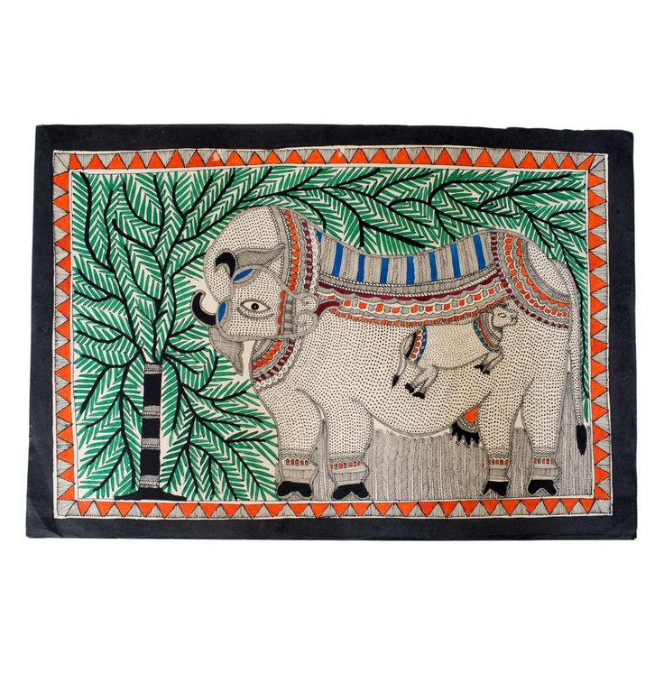 Folk Madhubani Cow Watercolor Painting on Chairish.com