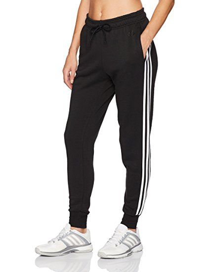 efd014ac adidas Women's Athletics Essential Cotton Fleece 3-Stripe Jogger Pants in  Black/White Price: Varies (8 Reviews)
