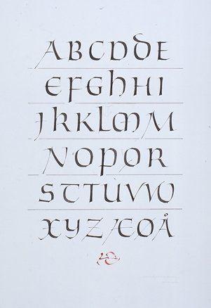 Modernised uncial alphabet. Christopher Haanes.