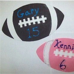 Cute superbowl idea! Just put your kids name and their jersey number, or the number of their favorite football player! Can't wait for all the yummy snacks on the big day :D