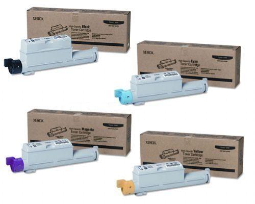 Toner Fuji Xerox PHASER 6360 yaitu Fuji Xerox 106R01217, 106R01214, 106R01215, 106R01216 Toner Cartridge denganStandard danFuji Xerox 106R01221, 106R0121