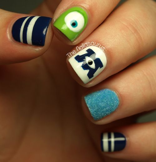 The Nailasaurus: Monsters University Nail Art Love it but the blue is too dark and needs purple spots to capture sully