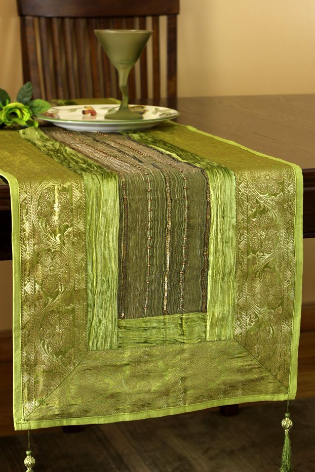 Decorate Your Tables For And Holidays With The Unique Green Apple Arabian  Velvet Table Runner